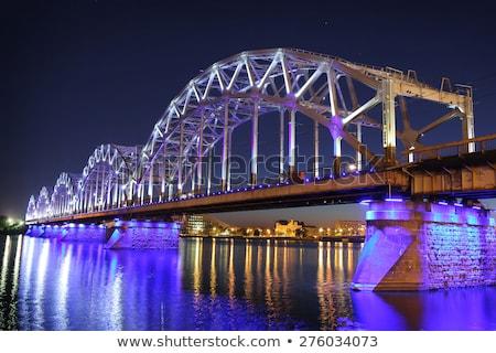 Demiryolu köprü Riga Letonya su manzara Stok fotoğraf © benkrut