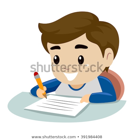 Boy concentrating on writing homework Stock photo © IS2