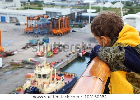 Menino olhando água porto viajar barco Foto stock © IS2