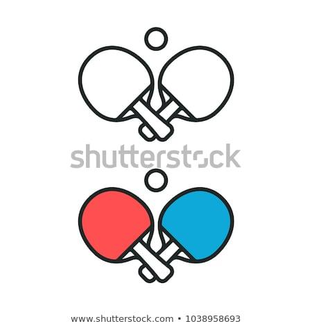 Stok fotoğraf: Basit · vektör · masa · tenisi · simge · renkli · simgeler