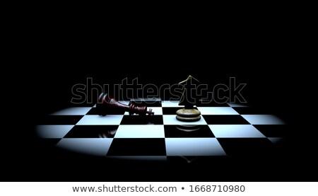 Victoria derrotar ajedrez 3d tablero de ajedrez juego Foto stock © tracer