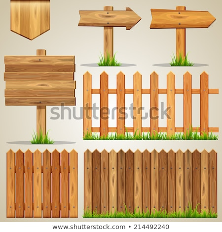 Fence barrier set, Wooden plank fences vector Stock photo © Andrei_
