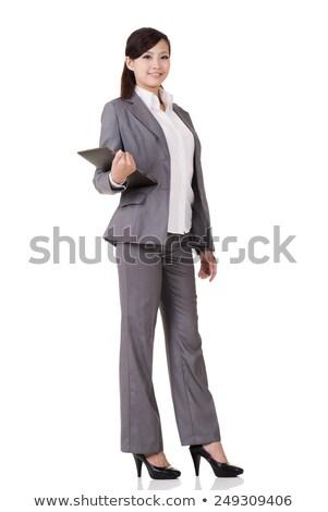 Teljes alakos portré elégedett ázsiai üzletasszony áll Stock fotó © deandrobot