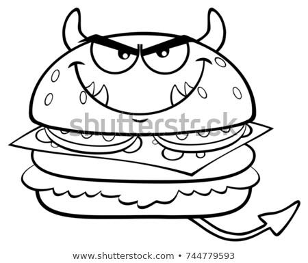 Siyah beyaz öfkeli şeytan Burger karikatür maskot karakter Stok fotoğraf © hittoon