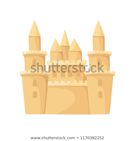 Big Sand castle isolated. Beach building. Vector illustration Stock photo © popaukropa