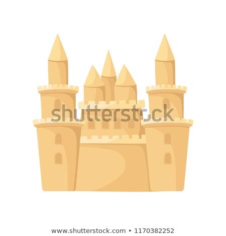big sand castle isolated beach building vector illustration stock photo © popaukropa