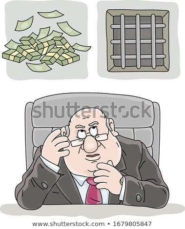 Bribe taker in prison. Man in Prison bars and money Stock photo © popaukropa