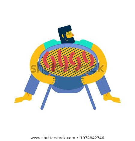 szakács · barbecue · férfi · kutya · boldog · nap - stock fotó © popaukropa