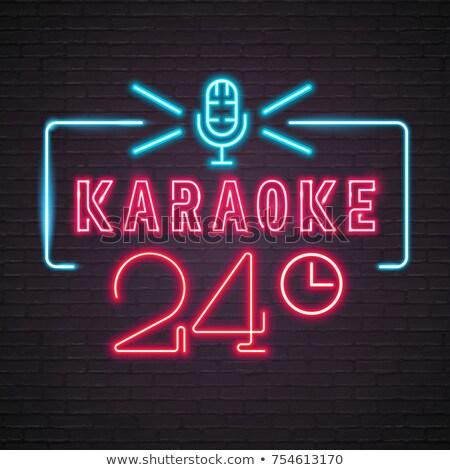 boldog · óra · karaoke · férfi · énekel · idő - stock fotó © chocolatebrandy