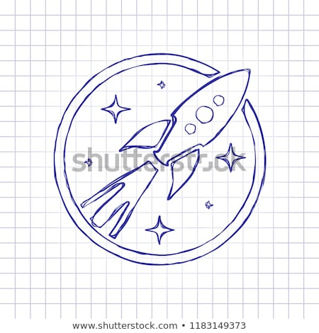 Blue Vectorized Ink Sketch of Rocket Illustration Stock photo © cidepix