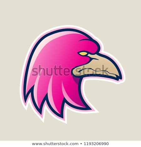 Magenta Eagle Head Cartoon Icon Vector Illustration Stock photo © cidepix