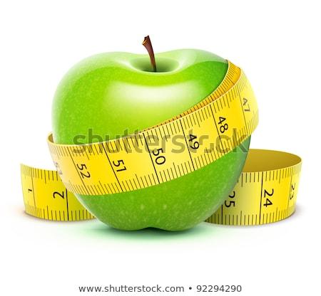 Verde maçã fita métrica gotas de água Foto stock © dash