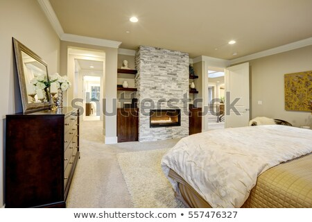 master bedroom interior with stone fireplace stock photo © iriana88w