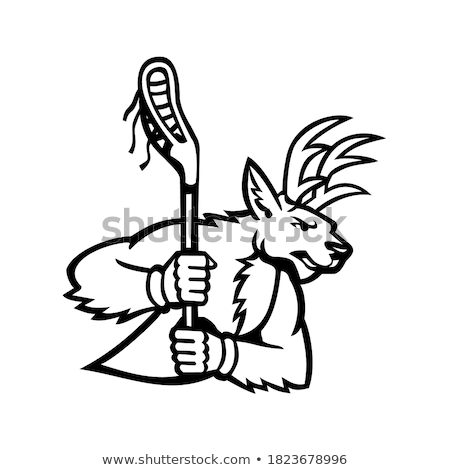 Stag Deer Lacrosse Mascot Stock photo © patrimonio