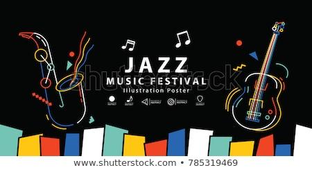 Dzsessz zene elemek illusztráció ahogy szaxofon Stock fotó © lenm