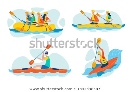 Nadmuchiwane rafting łodzi odizolowany biały projektu Zdjęcia stock © konturvid