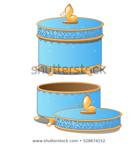Set of closed and opened round ornate gift boxes with lids blue color isolated on white background.  Stock photo © Lady-Luck