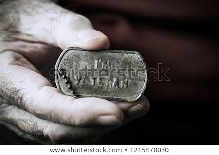 text I am veteran in a dog tag Stock photo © nito