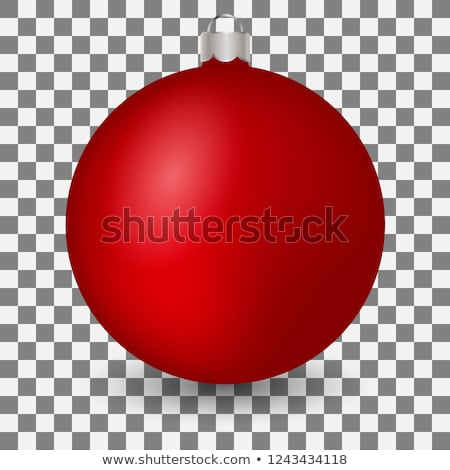 Stock photo: Glass transparent Christmas ball with red bow. Xmas glass ball on white background. Holiday decorati
