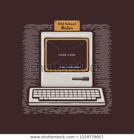 Velho computador pessoal retro pc ícone emblema Foto stock © JeksonGraphics