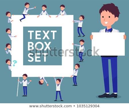 flat type Store staff Blue uniform men_text box Stock photo © toyotoyo