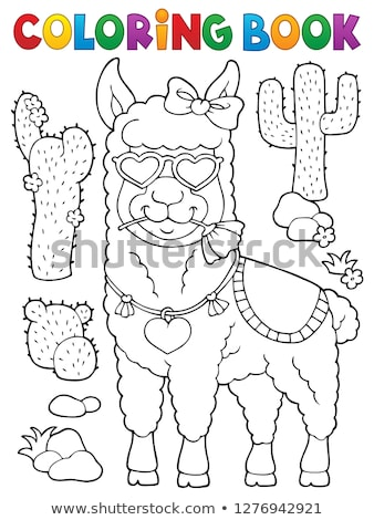 Coloring book llama with love glasses 1 Stock photo © clairev