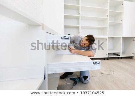 Ezermester installál fiók konyha oldalnézet fiatal Stock fotó © AndreyPopov