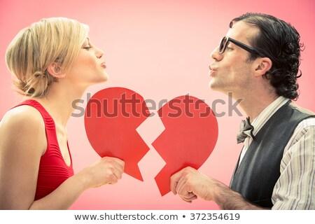 страстный пару целоваться гостиной домой женщину Сток-фото © boggy