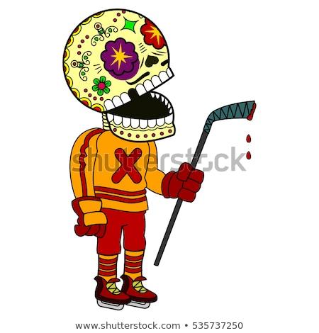 頭蓋骨 手描き スケッチ ホッケー ヘルメット ストックフォト © netkov1