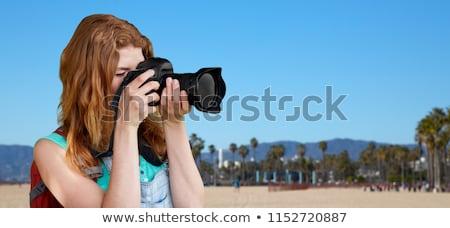 Nő hátizsák kamera Velence tengerpart utazás Stock fotó © dolgachov
