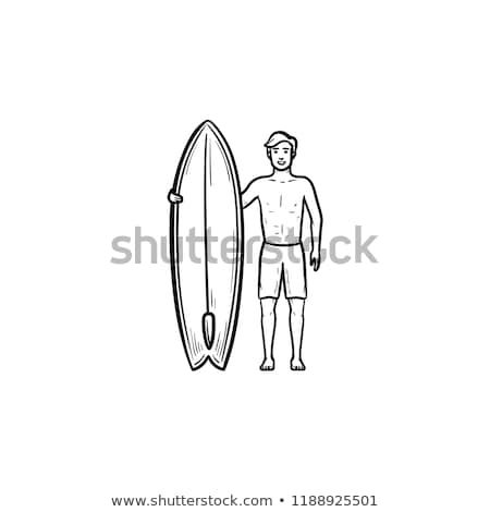 surfer standing with surfboard hand drawn outline doodle icon stock photo © rastudio