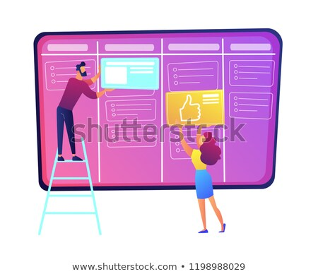 Programmers putting cards on kanban board vector illustration. Stock photo © RAStudio