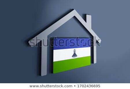 дома флаг Лесото белый домах Сток-фото © MikhailMishchenko