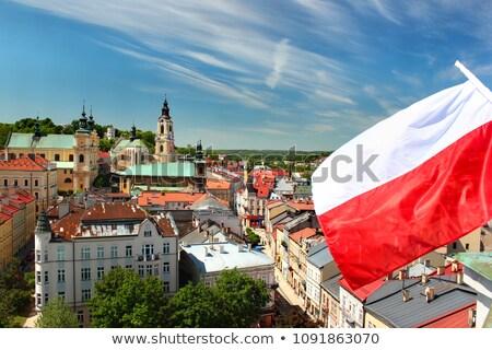 Ev bayrak Polonya beyaz evler Stok fotoğraf © MikhailMishchenko