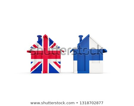 Two houses with flags of United Kingdom and finland Stock photo © MikhailMishchenko