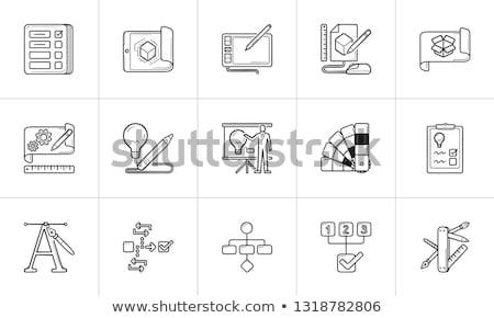 Workflow Planung Hand gezeichnet Gliederung Doodle Symbol Stock foto © RAStudio