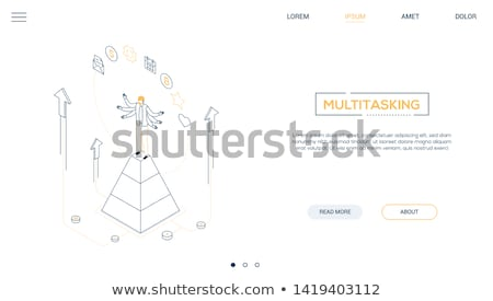 Multitasking concept - line design style isometric web banner Stock photo © Decorwithme