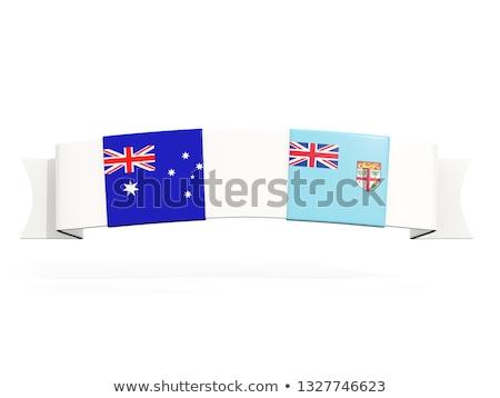 Szalag kettő tér zászlók Ausztrália Fidzsi-szigetek Stock fotó © MikhailMishchenko
