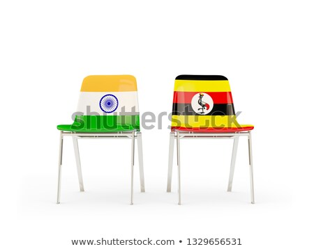 Two chairs with flags of India and uganda Stock photo © MikhailMishchenko