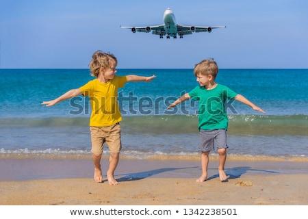 2 幸せ 男の子 ビーチ 着陸 平面 ストックフォト © galitskaya