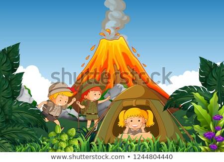 Camping ninos campamento volcán ilustración feliz Foto stock © colematt