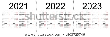 2023 calendar template isolated on white simple horizontal grid stock photo © orensila