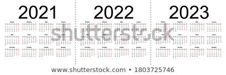 Kalendarza szablon odizolowany biały proste poziomy Zdjęcia stock © orensila