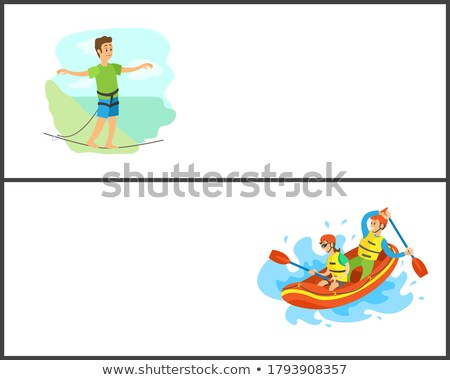 Rafting and Highlining People, Summer Hobby Set Stock fotó © robuart