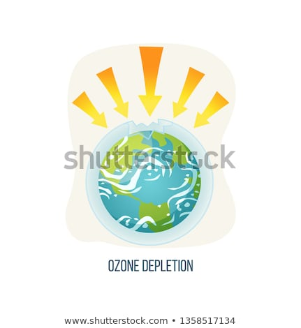 Сток-фото: Ozone Depletion Earth with Broken Layers Icon