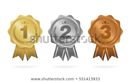 gold silver and bronze winner badges award ribbons first second third place and badge with star stock photo © kyryloff