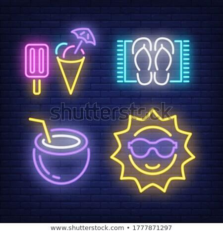 Papucs neon címke divat vakáció promóció Stock fotó © Anna_leni