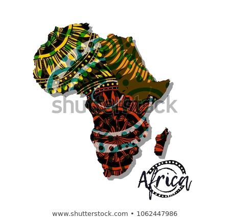 Afrikai földrész térkép törzsi formák Afrika Stock fotó © cienpies