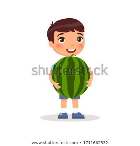 illusztráció · kezek · tart · görögdinnye · terv · magas - stock fotó © dejanj01