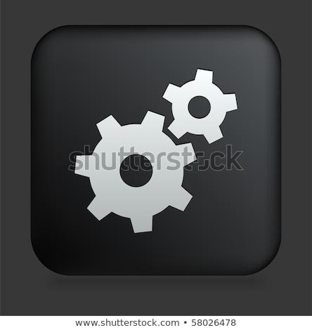 Engrenagem ícone praça botão relógio fundo Foto stock © Imaagio